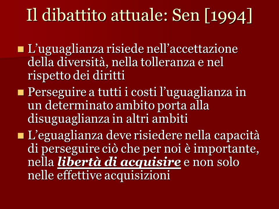 Il dibattito attuale: Sen [1994]